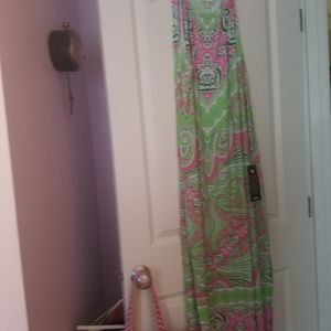 Avenue summer dress. Green and pink design.